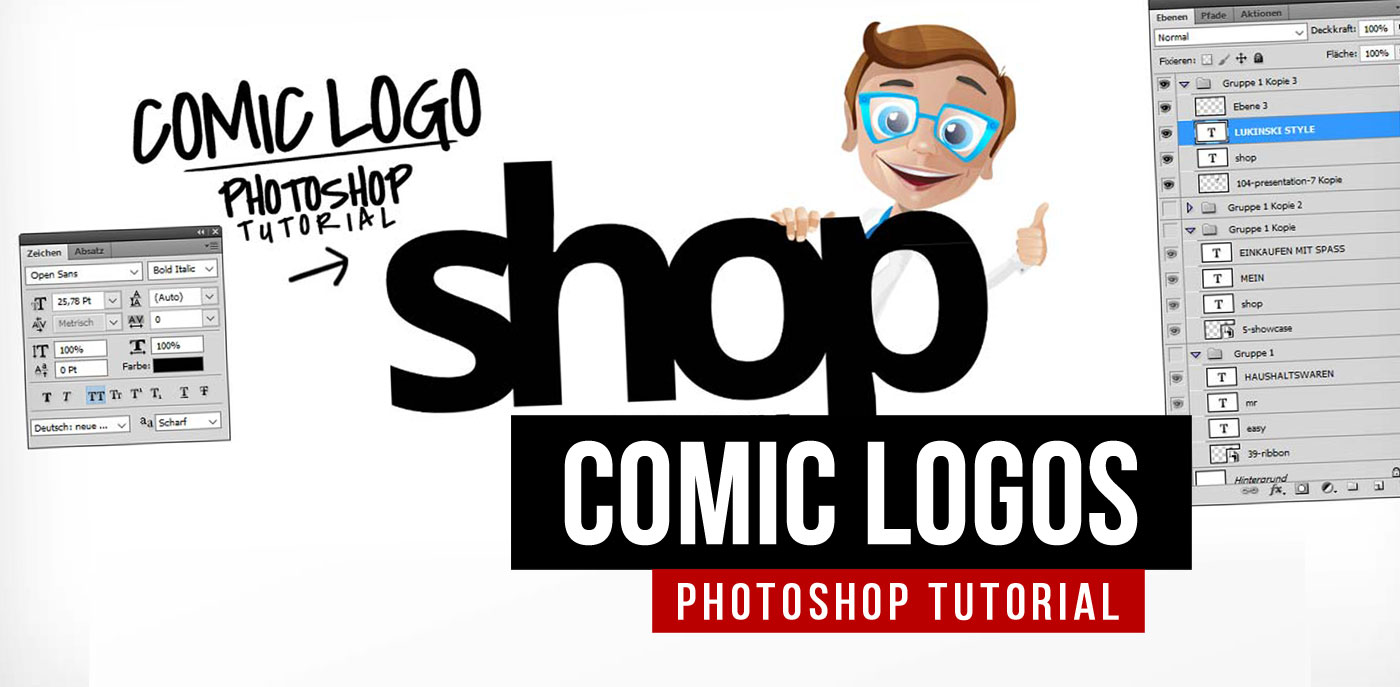 Photoshop tutorial for logos with cartoon characters