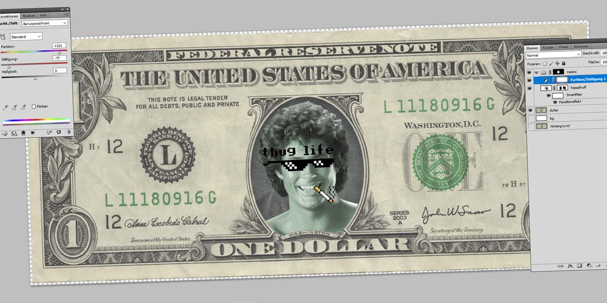 Hasselhoff Dollar - Photoshop Tutorial: Tools, Crop, Magic Wand and Masks